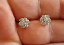 925 STERLING SILVER LADIES CLUSTER STUD EARRINGS W/ .50 CT DIAMONDS/ NEW DESIGN!
