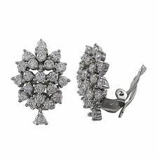 Sterling Silver CZ Cluster Womens Clip On Earrings