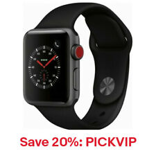 Apple Watch Gen 3 Series Cell 38mm Space Gray - Black Sport Band,20% Off:PICKVIP