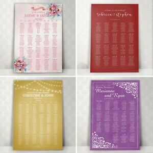 Personalised Wedding Table Plan ~ Canvas~Board~Paper ~ KW1 120+Designs- KW1