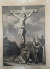 Gravure Ancienne Religieuse XIII Christ, Croix  François Harrewijn, Le Brun