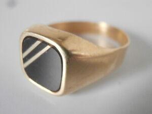 Vintage 18ct Gold Men's Signet Ring 6gms  * 750 (985) VI Black Panel Not Scrap
