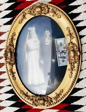 Antique Ornate CONVEX Victorian 19th Century Giltwood Gesso Oval Picture Frame