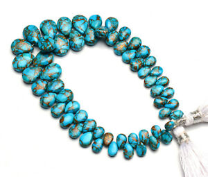 """Natural Gem Blue Copper Turquoise 6x4 to 10x7mm Size Smooth Pear Shape Beads 7"""""""