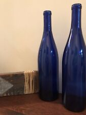 "Cobalt Blue Wine Bottles (2) Empty 750 ml - Display, Home-Brew / Crafts 12"" tall"