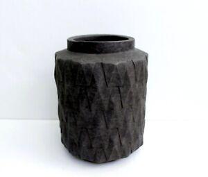 Nate Berkus Handcrafted Charcoal Earthenware Ceramic Decorative Vase