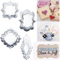 4PCS Stainless Steel Cookie Cutter Mold Fancy Plaque Frame Fondant Cake Mould