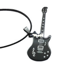 Men's Leather Chain Pendant 1Pcs Stainless Steel Guitar Necklaces Necklaces