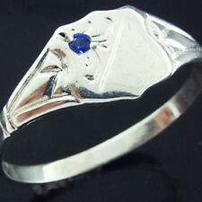 RING REAL SOLID 925 STERLING SILVER SAPPHIRE ANTIQUE ENGRAVED SIGNET DESIGN L  6