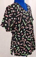 V Life Large Scrub Top Candy Cane L Medical Uniform Work Shirt Black V Neck LG