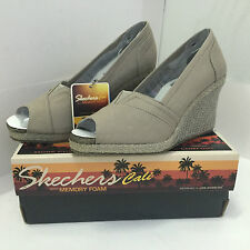 NEW! SKECHERS CALI CLUB SUN-SATIONAL TAUPE BROWN WEDGES SHOES 6.5 36.5 SALE