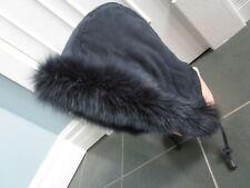 Real Genuine FOX FUR Trim Hood Collar Boa Navy Blue