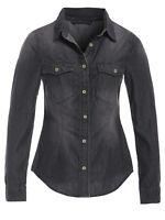 Womens Denim Shirt Top Ladies Stonewash Black shirts Cotton Size 8 10 12 14 16