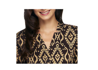 Linea By Louis Dell'Olio Ikat Printed Shirt Jacket Size 10 Brown Combo Color
