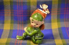 Vintage Red Haired Pixie Elf Sitting w/Knees Pulled Up-?Japan-Unique