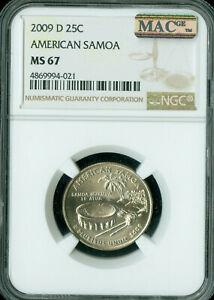 2009-D AMERICAN SAMOA QUARTER NGC MAC MS67 BUSINESS STRIKE SPOTLESS .