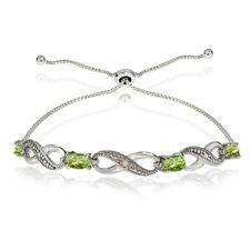 Infinity Symbol Peridot Adjustable Bolo Bracelet in Sterling Silver