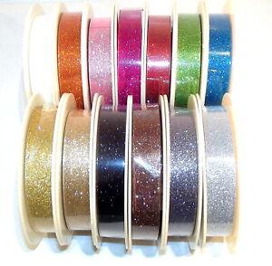 "Glitter Metallic Ribbon 20mm (3/4"") wide 1m 2m 5m or 25m Roll 13 Colours"