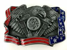 Belt Buckle American Flag & Eagle on V Twin Engine Enameled Made in USA