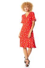 Roman Originals Womens Red Floral V-Neck Short Sleeve Dress Size 10 - 20