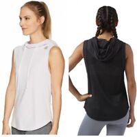 Women's Reebok Sleeveless Hoodie Workout Shirt Black White Purple XL NWT