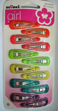 12 Scunci Girls Double Bar Glitter Colored Epoxy Metal Snap Contour Hair Clips