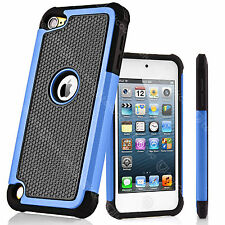 For iPod Touch 5th/6th Gen Dual Layers Rugged Rubber Hard Black Shell Case Cover