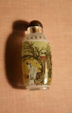 XF Signed Inside Painted Chinese Glass Snuff Bottle Legends