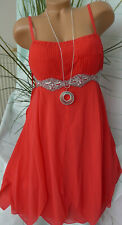 Heine Abendkleid Kleid Eventkleid Cocktailkleid Rot Pailletten Gr. 38 NEU (349)