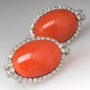 PINK CORAL & DIAMOND 14K WHITE GOLD OVER EARRINGS W/ DIAMONDS WITH OMEGA BACKS