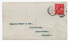 1912 Envelope with 1d red Downey head with Churston Ferrers 986 duplex pmk.