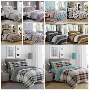 Cotton Complete Bedding Set Duvet Quilt Cover Fitted Sheet Pillowcase