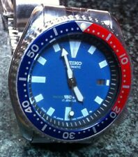 SEIKO DIVERS WATCH AUTO 7002-7000 15 BAR 17J DATE BLUE FACE PEPSI BEZEL SS BAND