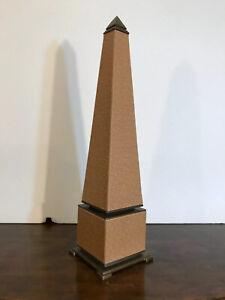 Vintage Hollywood Regency Ostrich Leather & Brass Tall Obelisk