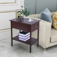 Narrow Side Table End Table Night Stand Bedside Table Sliding Drawer Storage USA