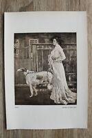 Kunst Druck 1 Blatt 1905/06 Frau mit Hund nach Gemälde von Robert Weise Mode ++