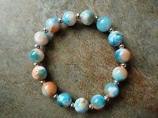 Coral, Blue & White Quartz Bead Beaded Bracelet - Genuine Gemstone - Handmade