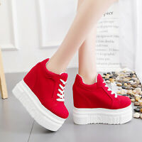 Womens Wedge Heels Platform Lace Up Pull On Shoes Sport Fashion Sneakers Heels