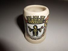Munchen Mug Shaped Tan Colored Shot Glass with Coat of Arms
