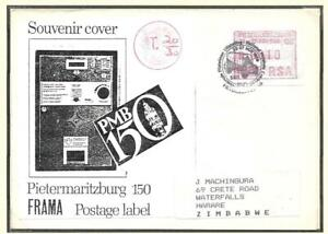ZIMBABWE, 1989 INCOMING MAIL, FROM S.AFRICA, FRAMA LABEL, TAXED, POSTAGE DUES