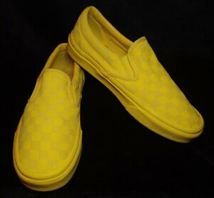 Women's Vans Authentic Yellow Check Canvas Slip On Sneakers Size 9.5