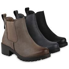 Damen Stiefeletten Chelsea Boots Gefütterte Basic Booties 831792 Schuhe