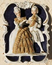 VINTAGE MID-20th CENTURY PORCELAIN WALL MOUNT FIGURINE - COLONIAL MAN & WOMAN