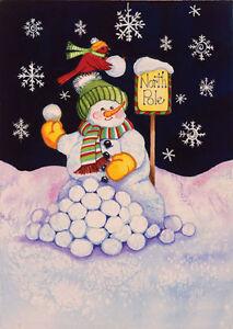 Garden Flag, Christmas, Snowman, Cardinal, North Pole Snowball Fight