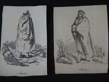 Dessins VACCARI Album africain costumes 1831 Arabes Alger orientalist Arab XIX