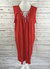Jones New York Shift Dress Sleeveless Lace Up Tie Bust Red/White Size 3X NWT $79