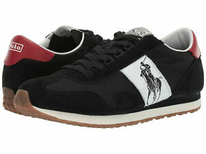 Polo Ralph Lauren Mens Train 90 PP Lace Up Casual Fashion Sneakers Shoes Black