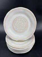"BOHO Living Cream Beige Medallion Melamine Luncheon Plates 9"" (8 Plates) EUC"