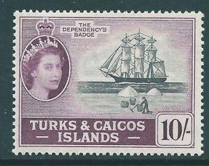 TURKS & CAICOS ISLANDS 1957 QE2 mint 10/- SG250