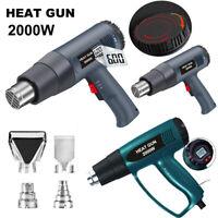 2000W Hot Air Heat Gun Dual Temperature Power Tool 4 Nozzles Heater LCD Display